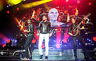 John Taylor, Simon Le Bon and Nick Rhodes of Duran Duran perform on stage at SEE Hydro on December 06, 2015 in Glasgow,Scotland