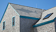 Whale depicted in shingles on rooftop; Vacation trip to Monhegan Island