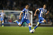 Brighton striker, Sam Baldock shoots during the Sky Bet Championship match between Brighton and Hove Albion and Rotherham United at the American Express Community Stadium, Brighton and Hove, England on 15 September 2015.
