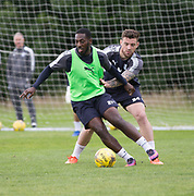 Dundee&rsquo;s Roarie Deacon and Kerr Waddell - Dundee FC pre-season training at Michelin Grounds, Dundee, Photo: David Young<br />