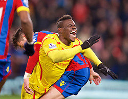 LONDON, ENGLAND - Saturday, February 14, 2015: Liverpool's Mario Balotelli is fouled by a Crystal Palace player during the FA Cup 5th Round match at Selhurst Park. (Pic by David Rawcliffe/Propaganda)