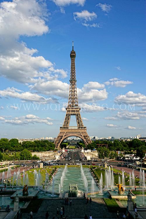 The Eiffel Tower, Trocadero Fountains, Paris France - Vertical.