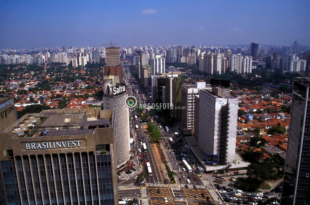 Sao Paulo, Sao Paulo, Brazil. 09/98. .Vista aerea da avenida Faria Lima./ Aerial view of Faria Lima Avenue..Foto © Adri Felden/Ag.Argosfoto