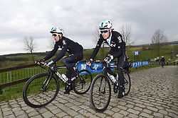 March 30, 2018 - Oudenaarde, Belgique - OUDENAARDE, BELGIUM - MARCH 30 : KWIATKOWSKI Michal (POL)  of Team SKY and ROWE Luke (GBR)  of Team SKY on the Paterberg climb during a training session prior to the Flanders Classics UCI WorldTour 102nd Ronde van Vlaanderen cycling race with start in Antwerpen and finish in Oudenaarde on March 30, 2018 in Oudenaarde, Belgium, 30/03/2018 (Credit Image: © Panoramic via ZUMA Press)