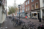 Bicycles in street, Delft, Netherlands