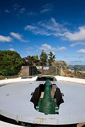 A retractable hidden gun sits atop Mount Victoria in the Devonport district of Auckland, New Zealand