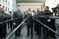 """15 MAY 2012, BERLIN/GERMANY:<br /> Frank-Walter Steinmeier (L), SPD Fraktionsvorsitzender, Sigmar Gabriel (M), SPD Parteivorsitzender, Peer Steinbrueck (R), SPD, Bundesminister a.D., beantworten nach der Pressekonferenz zum Thema """" Der Weg aus der Krise – Wachstum und Beschäftigung in Europa"""" noch weitere Fragen von Journalisten, Bundespressekonferenz<br /> IMAGE: 20120515-01-071<br /> KEYWORDS: Peer Steinbrück, Mikrofon, microphone"""