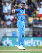 India's Hardik Pandya celebrates the wicket of Black Caps Ross Taylor during the Fifth ODI of the 2019 ANZ International ODI Series. Blackcaps v India at Westpac Stadium, Wellington, Sunday 3rd February 2019. © Copyright Photo: Grant Down / www.photosport.nz