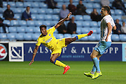AFC Wimbledon striker Dominic Poleon (10) shoots at goal during the EFL Sky Bet League 1 match between Coventry City and AFC Wimbledon at the Ricoh Arena, Coventry, England on 28 September 2016. Photo by Stuart Butcher.