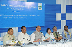October 1, 2018 - Kolkata, West Bengal, India - Union Home Minister Rajnath Singh along West Bengal Chief Minister Mamata Banerjee,Jharkhan Chief Minister Raghubar Das ,Bihar State Deputy Chief Minister Sushil Modi and Orissa Finances Minister Shashi  Bhusan Behera after the meeting jointly meet the press during the 23rd Eastern Zonal Council Meeting at the State Secretariat,Nabanna on October 01,2018 in Kolkata,India. (Credit Image: © Debajyoti Chakraborty/NurPhoto/ZUMA Press)
