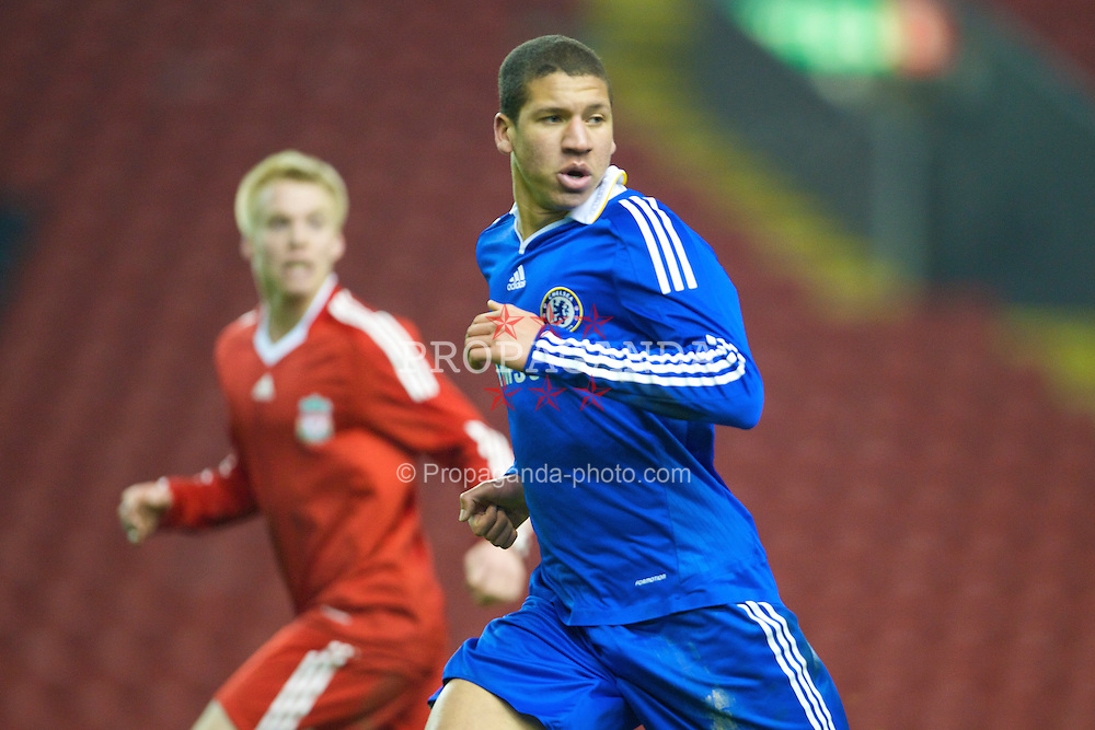 LIVERPOOL, ENGLAND - Thursday, February 5, 2009: Chelsea's Jeffrey Bruma Van Homoet in action against Liverpool during the FA Youth Cup 5th Round match at Anfield. (Mandatory credit: David Rawcliffe/Propaganda)