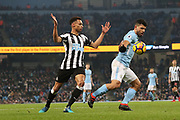 Sergio Aguero during the Premier League match between Manchester City and Newcastle United at the Etihad Stadium, Manchester, England on 20 January 2018. Photo by George Franks.