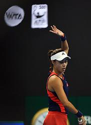 BEIJING, Oct. 6, 2018  Wang Qiang of China reacts during the women's singles quarterfinal match against Aryna Sabalenka of Belarus at China Open tennis tournament in Beijing, China, Oct. 5, 2018. Wang Qiang won 2-0. (Credit Image: © Xinhua via ZUMA Wire)