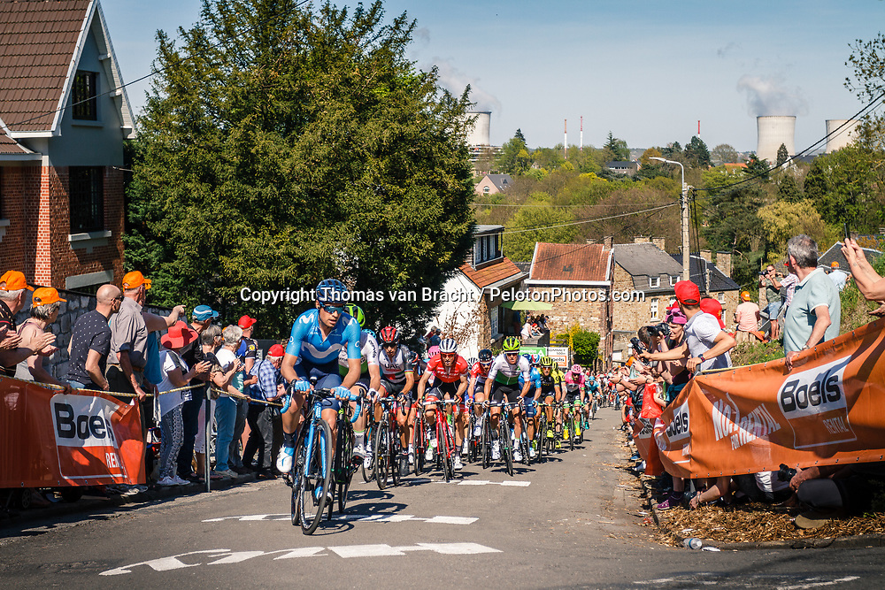 Peloton with rider of Movistar Team during 2nd lap on Mur de Huy at the 2018 La Flèche Wallonne race, Huy, Belgium, 18 April 2018, Photo by Thomas van Bracht / PelotonPhotos.com | All photos usage must carry mandatory copyright credit (Peloton Photos | Thomas van Bracht)