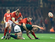 Pieter-Steph du Toit of South Africa offloads<br /> <br /> Photographer Simon King/Replay Images<br /> <br /> Under Armour Series - Wales v South Africa - Saturday 24th November 2018 - Principality Stadium - Cardiff<br /> <br /> World Copyright © Replay Images . All rights reserved. info@replayimages.co.uk - http://replayimages.co.uk