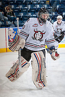 KELOWNA, CANADA - NOVEMBER 6: Taz Burman #30 of the Red Deer Rebels warms up against the Kelowna Rockets  on NOVEMBER 6, 2013 at Prospera Place in Kelowna, British Columbia, Canada.   (Photo by Marissa Baecker/Shoot the Breeze)  ***  Local Caption  ***