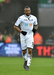 """Swansea City's Jordan Ayew during the Premier League match at the Liberty Stadium, Swansea. PRESS ASSOCIATION Photo. Picture date: Saturday February 10, 2018. See PA story SOCCER Swansea. Photo credit should read: Simon Galloway/PA Wire. RESTRICTIONS: EDITORIAL USE ONLY No use with unauthorised audio, video, data, fixture lists, club/league logos or """"live"""" services. Online in-match use limited to 75 images, no video emulation. No use in betting, games or single club/league/player publications"""