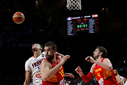 10.09.2014, Palacio de los deportes, Madrid, ESP, FIBA WM, Frankreich vs Spanien, Viertelfinale, im Bild Spain&acute;s Marc Gasol (R) and Pau Gasol (L) and France&acute;s Gobert // during FIBA Basketball World Cup Spain 2014 Quarter-Final match between France and Spain at the Palacio de los deportes in Madrid, Spain on 2014/09/10. EXPA Pictures &copy; 2014, PhotoCredit: EXPA/ Alterphotos/ Victor Blanco<br /> <br /> *****ATTENTION - OUT of ESP, SUI*****