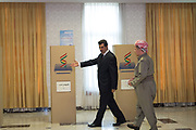 President of the Kurdistan Regional Government Massoud Barzani casts his vote in the referendum on Kurdish independence.