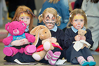 23/01/2014  Sarah Doherty and PINK, Aideen Burns with Pokadot and Ciara Mooney  from Ballinderry NS  at Teddy Bear Hospital at NUI, Galway where Medical Students got used to dealing with Children and Kids get used to the Hospital procedures. Photo:Andrew Downes.