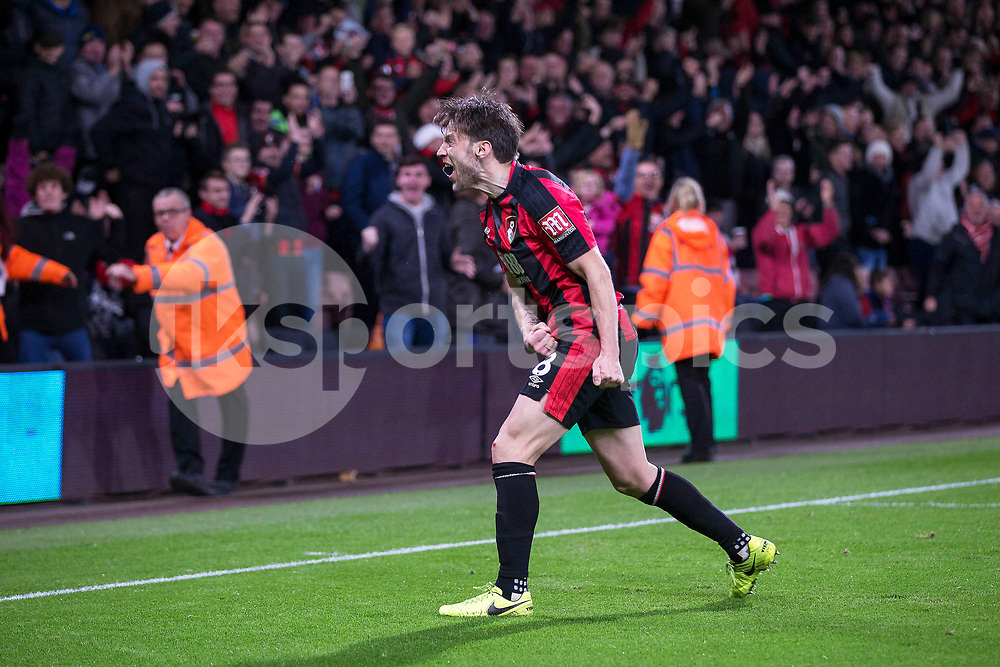 Harry Arter of Bournemouth celebrates after scoring Bournemouth's third during the Premier League match between Bournemouth and Huddersfield Town at the Vitality Stadium, Bournemouth, England on 18 November 2017. Photo by Simon Carlton.