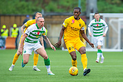 Marvin Bartley (#6) of Livingston FC shields the ball from Scott Brown (#8) of Celtic FC during the Ladbrokes Scottish Premiership match between Livingston FC and Celtic FC at The Tony Macaroni Arena, Livingston, Scotland on 6 October 2019.