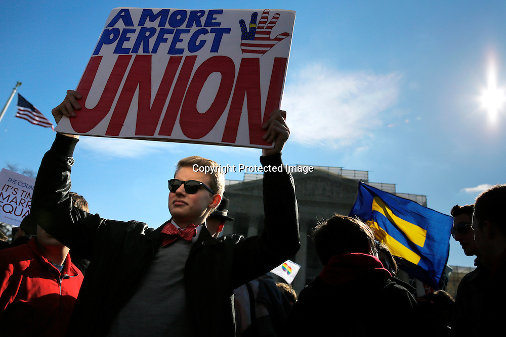 Protestors rally against the Defense of Marriage Act gay marriage prohibition in front of the U.S. Supreme Court in Washington.