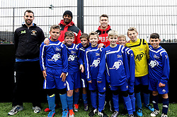 Mark Little and Luke Freeman pose for a picture with one of the teams competing in the BCCT EFL Kids Cup - Mandatory by-line: Robbie Stephenson/JMP - 23/11/2016 - FOOTBALL - South Bristol Sports Centre - Bristol, England - BCCT EFL Kids Cup