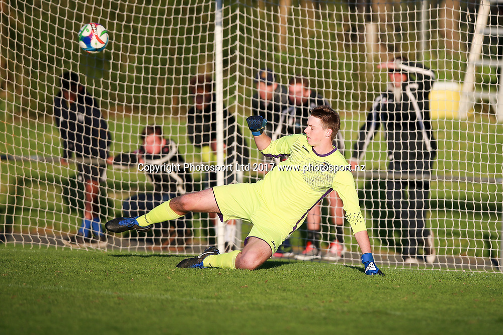 Manukau City's Jonathan Mannes dives the wrong way as the winning penalty flies into the net. ISPS Handa Chatham Cup Round 2, Waitakere City FC v Manukau City AFC, Fred Taylor Park, Whenuapai, Auckland, Monday 5th June 2017. Copyright Photo: David Joseph  / www.photosport.nz