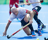 RIO DE JANEIRO  (Brazilië) -  Nick Catlin (GB) during the poulematch hockey men Belgium v Great Britain (4-1),   Olympic Games 2016 . Copyright Koen Suyk
