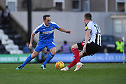 Notts County midfielder David Vaughan(8) and Grimsby Town midfielder Harry Clifton(15) during the EFL Sky Bet League 2 match between Grimsby Town FC and Notts County at Blundell Park, Grimsby, United Kingdom on 22 December 2018.