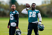 Philadelphia Eagles Wendell Smallwood RB (28) during the press, training and media day for Philadephia Eagles at London Irish Training Ground, Hazelwood Centre, United Kingdom on 26 October 2018. Picture by Jason Brown.