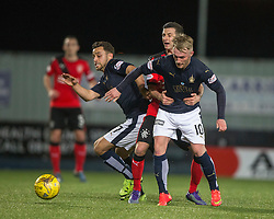 Falkirk's Tom Taiwo and Craig Sibbald. <br /> Falkirk 3 v 2 Rangers, Scottish Championship game player at The Falkirk Stadium, 18/3/2016.