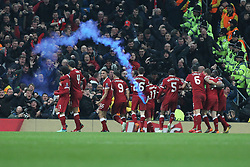 10.04.2018, Etihad Stadium, Manchester, ENG, UEFA CL, Manchester City vs FC Liverpool, Viertelfinale, Rückspiel, im Bild Mohamed Salah of Liverpool celebrates in front of the Liverpool fans // Mohamed Salah of Liverpool celebrates in front of the Liverpool fans during the UEFA Champions League Quarterfinal, 2nd leg Match between Manchester City and FC Liverpool at the Etihad Stadium in Manchester, Great Britain on 2018/04/10. EXPA Pictures © 2018, PhotoCredit: EXPA/ Focus Images/ Michael Sedgwick<br /> <br /> *****ATTENTION - for AUT, GER, FRA, ITA, SUI, POL, CRO, SLO only*****