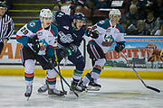 KELOWNA, CANADA - APRIL 25:  Nolan Foote #29 of the Kelowna Rockets, Kole Lind #16 of the Kelowna Rockets, Matthew Wedman #21 of the Seattle Thunderbirds at the Kelowna Rockets game on April 25, 2017 at Prospera Place in Kelowna, British Columbia, Canada.  (Photo By Cindy Rogers/Nyasa Photography,  *** Local Caption ***