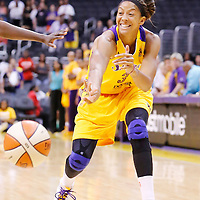 22 June 2014: forward/center Candace Parker (3) of the Los Angeles Sparks passes the ball during the San Antonio Stars 72-69 victory over the Los Angeles Sparks, at the Staples Center, Los Angeles, California, USA.