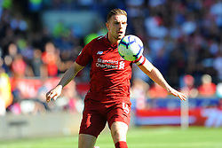 Jordan Henderson of Liverpool tries to control the ball- Mandatory by-line: Nizaam Jones/JMP - 21/04/2019 -  FOOTBALL - Cardiff City Stadium - Cardiff, Wales -  Cardiff City v Liverpool - Premier League