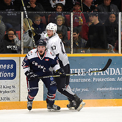 DRYDEN, ON - MAY 2: Gordon Whalen #27 of the Cochrane Crunch and Ted Davis #17 of the Dryden GM Ice Dogs pursue the play in the first period during Game Four of the Central Canadian Junior Championship during the 2018 Dudley Hewitt Cup on May 2, 2018 at the Dryden Memorial Arena in Dryden, Ontario, Canada. (Photo by Andy Corneau/DHC via OJHL Images)