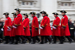 The Anzac Day tradition -WW1 memorial. War Veterans Chelsea Pensioners march in a service of remembrance at the Cenotaph on Whitehall, London, United Kingdom. Friday, 25th April 2014. Picture by Daniel Leal-Olivas / i-Images
