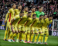 FOOTBALL: Players of Romania line up before the World Cup 2018 UEFA Qualifier Group E match between Denmark and Romania at Parken Stadium on October 8, 2017 in Copenhagen, Denmark. Photo by: Claus Birch / ClausBirch.dk.