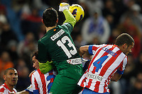 09.12.2012 SPAIN -  La Liga 12/13 Matchday 15th  match played between Atletico de Madrid vs R.C. Deportivo de la Courna (6-0) at Vicente Calderon stadium. The picture show Thibaut Courtois (Belgian goalkeeper of At. Madrid)