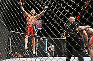 "LAS VEGAS, NEVADA, MAY 24, 2008: Shane Carwin (left) celebrates after knocking out Christian Wellisch after just fourty-four seconds of their fight during ""UFC 84: Ill Will"" inside the MGM Grand Garden Arena in Las Vegas"