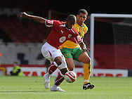 Bristol - Saturday, October 18th, 2008: Marvin Elliot of Bristol City and Darel Russell of Norwich City during the Coca Cola Championship match at Ashton Gate, Bristol. (Pic by Alex Broadway/Focus Images)