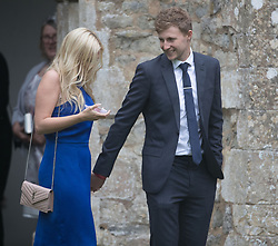 England cricket Test team captain Joe Root (right) outside St Mary the Virgin, East Brent, Somerset, following the wedding of Ben Stokes and his fiancee Clare Ratcliffe.