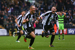 Robert Milsom of Notts County and Elliott Hewitt of Notts County celebrate after equalising against Forest Green Rovers - Mandatory by-line: Ryan Crockett/JMP - 07/10/2017 - FOOTBALL - Meadow Lane - Nottingham, England - Notts County v Forest Green Rovers - Sky Bet League Two