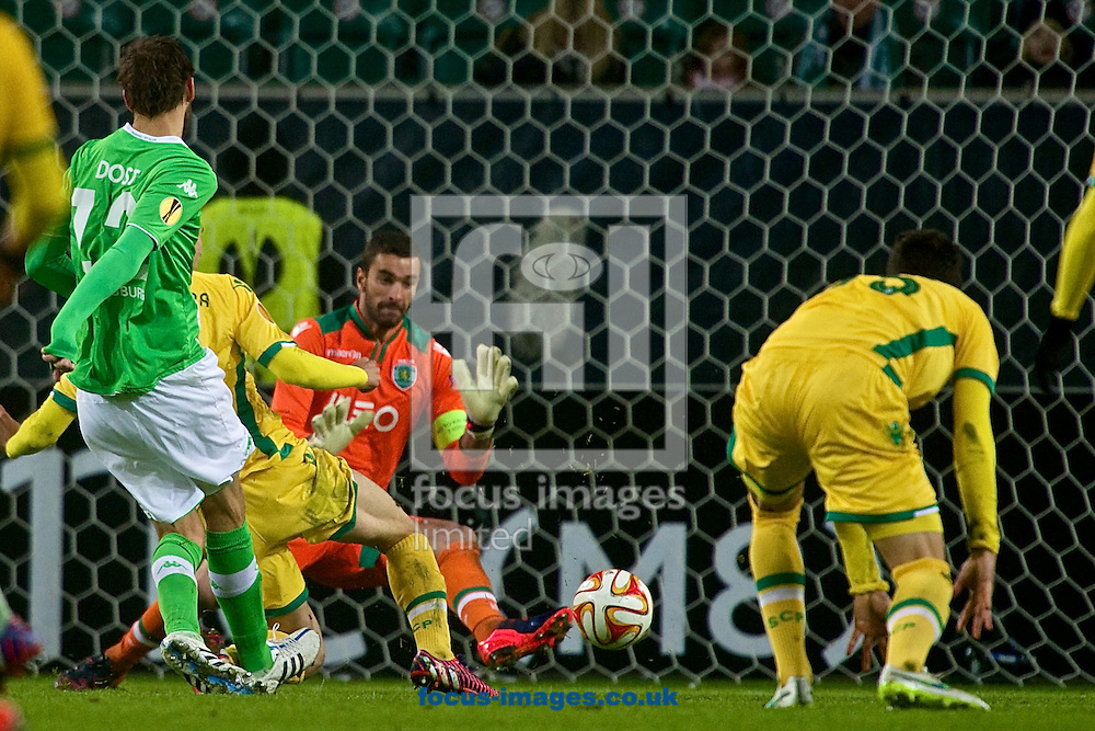 Bas Dost of VfL Wolfsburg (left) scores their first goal to make it VfL Wolfsburg 1 Sporting Clube de Portugal 0 during the UEFA Europa League match at Volkswagen Arena, Wolfsburg<br /> Picture by Ian Wadkins/Focus Images Ltd +44 7877 568959<br /> 19/02/2015