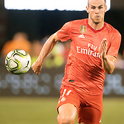 MEADOWLANDS, NEW JERSEY- August 7: Gareth Bale #11 of Real Madrid latches on to a through ball to score his sides second goal during the Real Madrid vs AS Roma International Champions Cup match at MetLife Stadium on August 7, 2018 in Meadowlands, New Jersey. (Photo by Tim Clayton/Corbis via Getty Images)