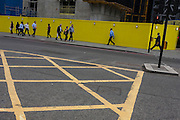Traffic grid and pedestrians on the other side of Bishopsgate on 12th September, in the City of London, UK.