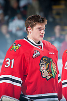 KELOWNA, CANADA - MAY 1: Adin Hill #31 of Portland Winterhawks lines up against the Kelowna Rockets for game 5 of the Western Conference Final on May 1, 2015 at Prospera Place in Kelowna, British Columbia, Canada.  (Photo by Marissa Baecker/Getty Images)  *** Local Caption *** Adin Hill;