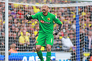Watford Heurelho Gomes during the Sky Bet Championship match between Brighton and Hove Albion and Watford at the American Express Community Stadium, Brighton and Hove, England on 25 April 2015. Photo by Phil Duncan.
